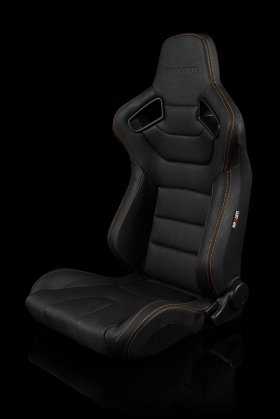 Braum Elite Black Leatherette Carbon Fiber Mixed Sport Reclining Seats - Gold Stitches - Pair