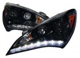 Spec-D Gloss Black Headlights R8 Leds Genesis Coupe 2010 - 2012