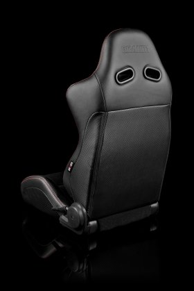 Braum Advan Black Leatherette Black Insert Fabric Carbon Fiber Mixed Sport Reclining Seats - Red Stitches - Pair