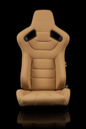 Braum Elite Beige Leatherette Carbon Fiber Mixed Sport Reclining Seats - Pair