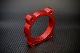 Torque Solution Red Throttle Body Spacer Hyundai Genesis V6 3.8L 2013 - 2016