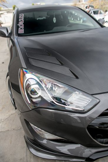 RK Sport Extractor Carbon Fiber Hood 2013 - 2016 Hyundai Genesis Coupe