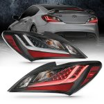 ANZO LED TAIL LIGHTS BLACK HOUSING SMOKE LENS GENESIS COUPE 2010 - 2016