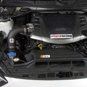HPS Wrinkle Black Shortram Air Intake Heat Shield Genesis Coupe 3.8L V6 2013 - 2016