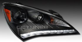 Spec-D Matte Black Headlights R8 Leds Genesis Coupe 2010 - 2012