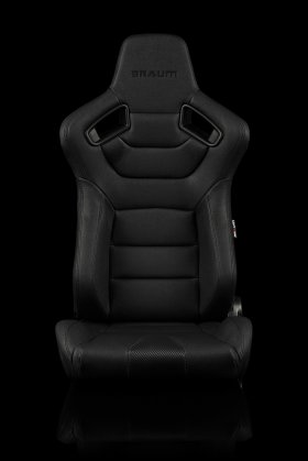 Braum Elite Black Leatherette Carbon Fiber Mixed Sport Reclining Seats - Black Stitches - Pair