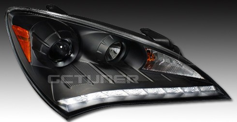 Genesis Coupe Spec-D Headlights w/ R8 Leds - Black 2010 - 2012