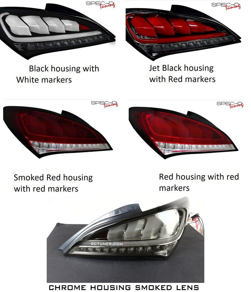 Spec D Tuning Sequential Led Tail Lights - Various Colors Genesis Coupe 2010 - 2016